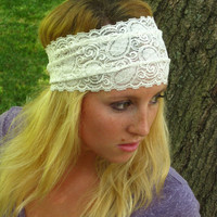 White Stretchy Lace Headband, Comfortable Hairband, Wedding or Casual