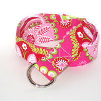 Girls Fabric Belt Ribbon Belt Child Cloth Belt- Gypsy Paisley in pink - plus 30 other styles ... with matching headband option