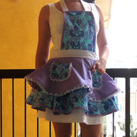 Women's Apron - Retro Apron - Full Double Skirt in Purple, Aqua and White