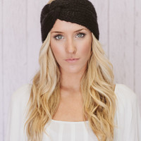 Black Knitted Headband Turband Twist Mohair Ear Warmer (HBK2-01)