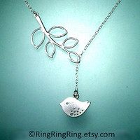 White Gold branch and bird necklace -  Adjustable sterling silver necklace with extension 101612