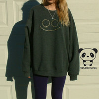 Minimalist Sparkly Smiley Face Oversized Sweatshirt