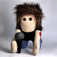 Stuffed Plush Rockstar with Microphone and Awesome 80s Hair - READY TO SHIP