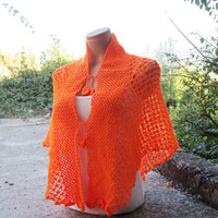 Crochet Lace Shawl Capelet Orange. Wrap Shrug. Orange Shawl. FREE Gift HEADBAND  Womens Accessory. Spider web shawl, Capelet, Poncho