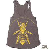 $18.00 Womens EAT HONEY american apparel TriBlend Racerback by zenthreads