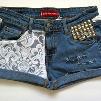 Vintage Levis WHTE LACE Patched MID Rise Studded And Slashed Denim Shorts M