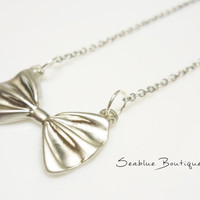 10% OFF , Matte silver plated necklace with bow tie