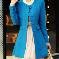 Women Blue OL Wool coat Cashmere winter coat Hood cloak Hoodie cape Hooded Cape/clothing /jacket/dress