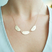Brushed Gold Scalloped Necklace, from Made By Maru