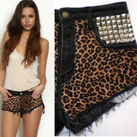HypoxicAndLost - Handmade - Black DENIM leopard print CUT OFF shorts (au6)(us2)