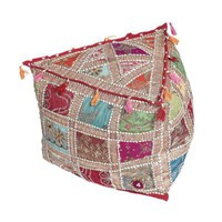 Indian Triangular Pouffe Cover | DotComGiftShop