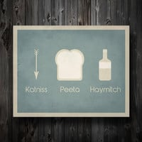 "Hunger Games Inspired / Katniss Peeta Haymitch / Simplest Definition Typography / 11"" x 14"" Poster Print"