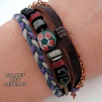 Genuine leather bracelet with beautiful flower drops, size adjustable