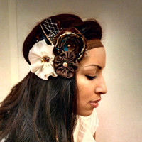 Brown Boho Chic Flower Feather Headband