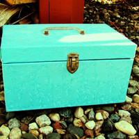 vintage robins egg blue sewing box and all contents. gift for her. tiffany blue sewing box
