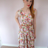 Floral 1980s Tea Party Dress Sz S by PonyChopsShop on Etsy