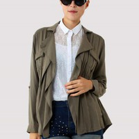 Khaki Double Pockets Coat - New Arrivals - Retro, Indie and Unique Fashion