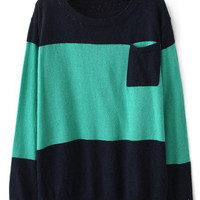 Green Round Neck Long Sleeve Pocket Embellished Sweater - Sheinside.com