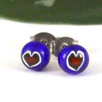 Red Heart Fused Glass Post Earrings, Bright Blue Background