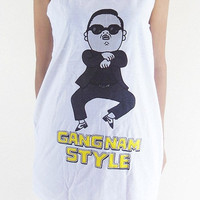 Gangnam Style Shirt -- Gangnam Style T-Shirt Korean Hip Hop Shirt Tank Top Women Tunic Top Sleeveless Women Shirt White Shirt Size M