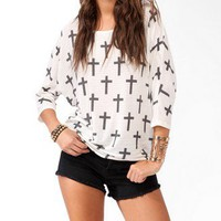 Cross Pattern Dolman Top