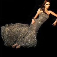 Scala BG Haute E01015 Platinum Strapless Sequin Dress Gown Sz 0 to 12 NWT New