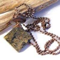 Mens Pendant with Green, Brown Picture Jasper Stone and Horn Bead