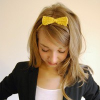 Bow Headband in Mustard Yellow by YesJess on Etsy
