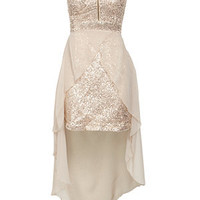 Club L Gold Sequin Chiffon Strapless Zip Dress