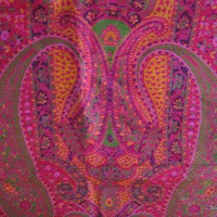 Vintage Pure Silk Printed Sari in Fuschia Color