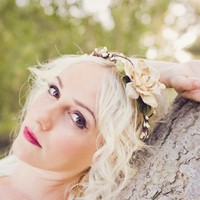 woodland hair crown adjustable wedding flower 'wind by whichgoose