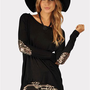 Beauty-Bow Patch Long Shirt - Black/Gold at Necessary Clothing