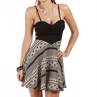 Black/White Tribal Print Strapless Dress