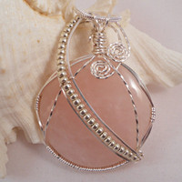 Rose Quartz Wire Wrapped Pendant, Handmade Wire Wrapped Jewelry