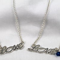 "18"" Silver Small Link Chain (2.4mm) with a Script LOVE Charm and YOUR choice of a Birthstone Bead Necklace"