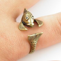 Gold Fish Animal Wrap Ring