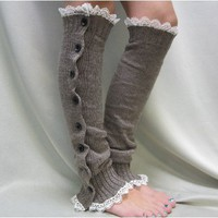 LW17 button down leg warmers smokey mocha