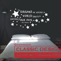 Vinyl Wall Decal - In DREAMS We Enter a WORLD that&#x27;s Entirely Our Own, Albus Dumbledore quote, Harry Potter JK Rowling
