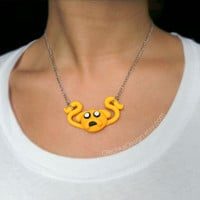 Jake the Dog Necklace, Adventure Time Jewelry, Polymer Clay