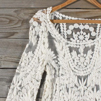 Laced in Snow Blouse, Sweet Bohemian tops