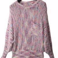 Space Dye Batwing Sleeve Ribbed Fluffy Sweater - Sheinside.com