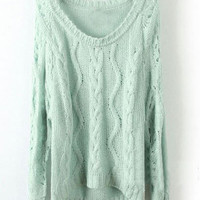 Light Green Long Sleeve Diaper Hollow Pullovers Sweater - Sheinside.com