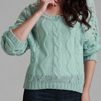 Green Long Sleeve Hollow Pullovers Sweater - Sheinside.com