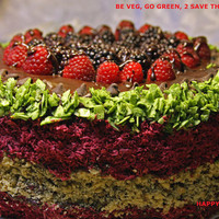 Vegan Chocolate Meeting cake with Walnuts,Pecans,Hazelnuts and Sour Cherries, love, animal free cruelty,no eggs,no dairy.