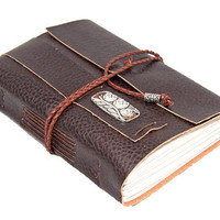 Brown Vegan Faux Leather Journal with Owl Charm Bookmark