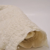 White lace Nuno felt fabric handmade of fine merino wool wet felted and lace fabric