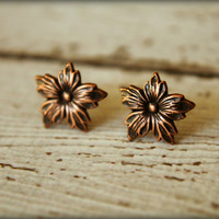 Pointed Petal Flower Earring Posts in Antique Copper