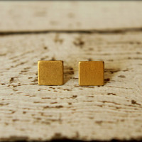 Square Earring Studs in Raw Brass - 7mm, Stainless Steel Posts