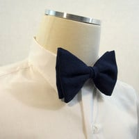 70s Bow Tie Vintage Mens Textured Blue Polyester Clip-on bowtie disco era