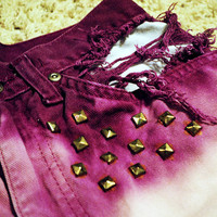 Handmade Purple Ombre Studded&Destroyed High Waist Shorts